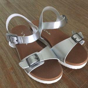 Girls Nina silver platform sandals